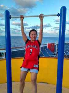 Practising my limited pull up skill on the ship